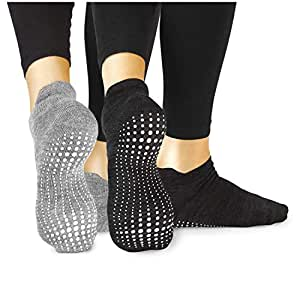 LA Active Grip Socks - 2 Pairs - Yoga Pilates Barre Ballet Non Slip Covered (Slate Grey and Stellar Black, Small)