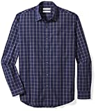 Amazon Essentials Men's Regular-Fit Long-Sleeve Plaid Shirt, Navy Windowpane, Large