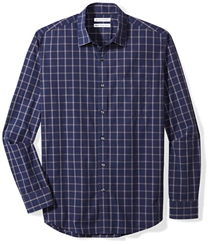 Amazon Essentials Men's Regular-Fit Long-Sleeve Casual Poplin Shirt, navy windowpane, Large