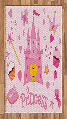 (Lunarable Nursery Area Rug, Little Princess Tiara Slippers Castle Butterfly Heart Lollipop Wand Cupcake, Flat Woven Accent Rug for Living Room Bedroom Dining Room, 2.6 x 5 FT, Yellow White Pink )