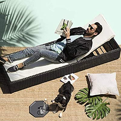 Divano Roma Furniture Outdoor Patio Lounge Chair Adjustable Folding Recliner Chaise Long Rattan Chair (Black/Blue).