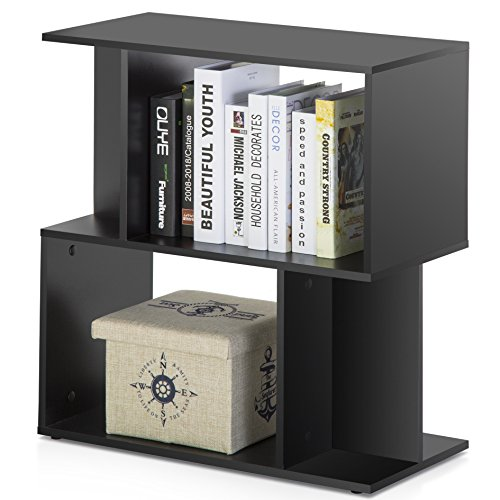 Homury Modern Wood End Side Table Coffee Table Bookcase Storage Shelving Stand Bookshelf Media Storage Organizer Cabinet Black - Media Storage Coffee Table