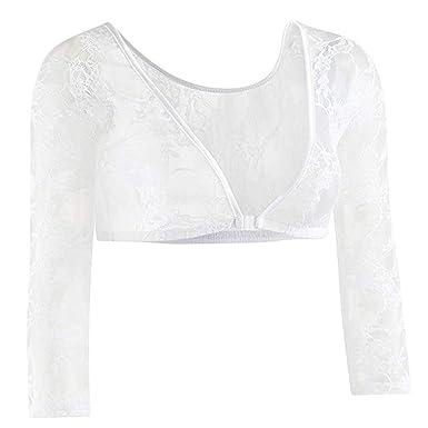 online store c4edd 7ee15 Longra Donna Shapewear Camicia a Maniche Lunghe in Maglia Eleganti Tunica  Body Shaper Coprispalle Canotte Crop Tops Taglie Forti, Entrambi Side Wear
