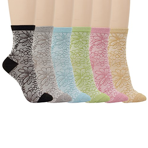 Cotton Silk Trousers - WOWFOOT 5Pair Women Glitter Roll Top Socks Over Ankle High Soft Cotton Girl 5 Color (6 pair-flower glitter)