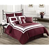 Cozy Beddings Lux Decor Collection 8-Piece Comforter Set with White Stripes, Queen, Red/Burgundy
