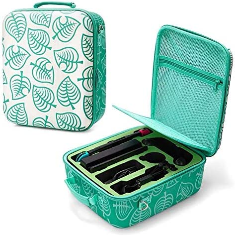 Nintendo Switch Deluxe Carrying Case-Turquoise Storage Bag with Handle and Shoulder Strap Fits Complete Switch System Console+Switch Dock+ Pro Controller +Joy-Con Grip+ Poke Ball Plus & Accessories.