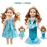 SpiderMarket 14.5 Inch Doll Clothes Accessories Shoes for American Girl WellieWishers Camille Willa Ashlyn Kendall Emerson Doll Tenney Grant Doll (Mermaid Dree+Princess dress)