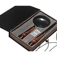 Lupa y sistema de abrelatas de letras vintage Caja de libros Almacenamiento Fácil apertura de cartas Lupa de mano para lectura Inspección Crucigramas Mapas