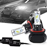 TURBOSII H13 9008 Led Headlight Bulbs 6500K 8000LM Hi/Low Beam SEOUL Chips Conversion Kit W/ Anti Flicker Error Free Canbus Decoders HID or Halogen Headlight Replacement for Cruze Dodge Ford Pontiac