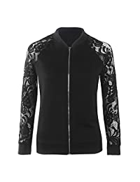 Felove Women's Spring Long Sleeve Lace Hollow Patchwork Floral Short Bomber Jacket