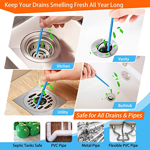 Drain Sticks Drain Stix DrainStix Drain Cleaner Deodorizer Sticks Flexible Non-Fragile for Preventing Clogs Eliminating Smelly Odor Enzyme Kitchen Bathroom Sink Septic Tank Safe As Seen On TV
