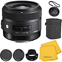 Sigma 30mm f/1.4 DC HSM CT Lens Kit for Canon T4i, T5i, 60D, 70D, 7D, T3, T3i DSLR Cameras - International Version