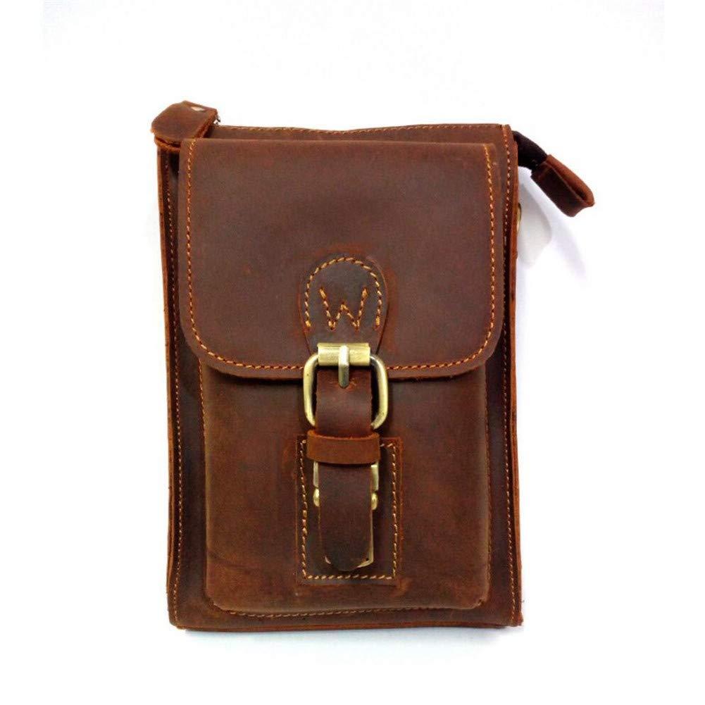 LQUIDE Herren-Schultertasche Retro Outdoor Diagonal Bag Multi-Funktions Tasche Kann Verwendet Werden, Um 7-Zoll-Handys, Zigaretten, Geldbörsen Zu Speichern,Braun