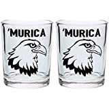Funny Shot Glasses Murica Bald Eagle Merica Funny Patriotic 4th of July Gift Shot Glasses 2-Pack Round Shot Glass Set Black