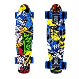 ENKEEO 22 Inch Plastic Cruiser Skateboard with Sturdy Deck 4 PU Casters for Kids, Youths and Adults