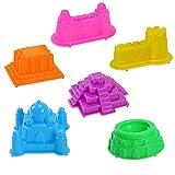 GGG Kids Child 6Pcs Sand Beach Mud Plasticene Castle Building Model Mold Fun Toys Kit Tool Random Color Pattern Random Color Pattern