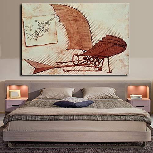 baodanla Pintura al oleo sin Marco Vintage Aircraft Ng by Da Vinci Lienzo Arte de la Pared Imagen Resumen Famoso Ng Decoracion del hogar Sala de Estar Ca60x90cm