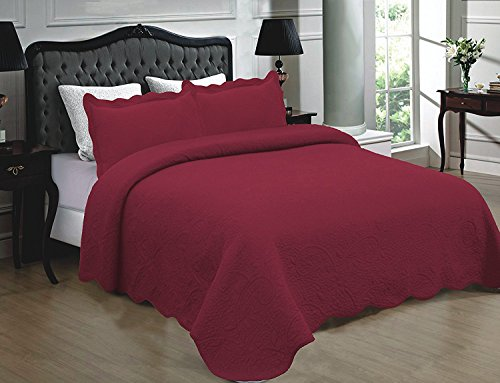 Homemusthaves 3PCS Quilt Set 100% Cotton Solid Color Design Quilt Bedspread Bed Coverlet (King (102x94 Inches), Burgundy)