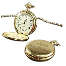 Luxury Engraved s UK Men's Happy 90Th Birthday Pocket Watch Gold Tone, Personalised / Custom Engraved In Box Gold