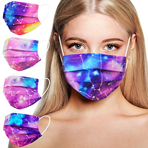Disposable Face Masks for Women, Breathable Face Mask with Designs, Colorful Fashion Cute Mask with Nose Wire Elastic Ear Loop for Adults Working Out, 3 Ply 50PCS