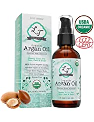 USDA Organic 100% Pure Moroccan Argan Oil 4oz. Cold-Pressed & Triple Extra-Virgin Grade A to Promote BEST Growth for Dry & Damaged Hair. Natural Treatment for Anti-Aging Skin, Nails, Foot & Beard Care