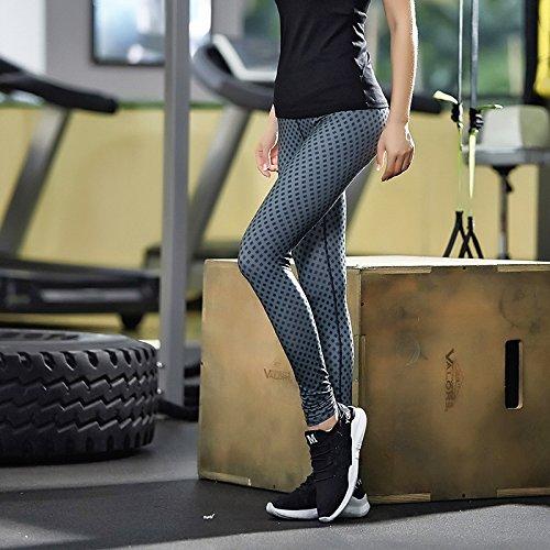 JIALELE Yogahose Sport Yoga Hose_Sport Yoga Hosen Reparatur Höhe Pop Video Dünnen Schwarzen Punkt Stempel
