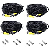 Henxlco 4 Pack 100 feet BNC Video Power Cable Security Camera Pre-made All-in-One Extension Wire Cord for CCTV DVR Surveillance System