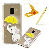 Soft TPU Case for Samsung Galaxy A8 Plus 2018,Shock-Absorbing Rubber Case for Samsung Galaxy A8 Plus 2018,Herzzer Stylish Slim Fit Cute Elephant Pattern Shockproof Scratch Resist Flexible Silicone Back Cover