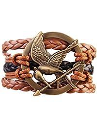 Hunger Games Mocking Jay Bird Braided Bracelet - Brown and Black