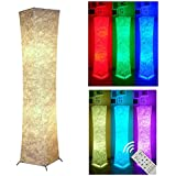 1Life Modern Twisted Design Floor Lamp 52 RGB Color Changing Lanterns with Soft Fabric Lampshade & 2 Led Bulbs for Bedroom Living room Party