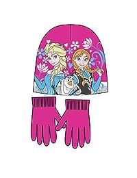 Disney Frozen Girls Winter Wear set of Bonnet and Gloves (54 cm, 4-8 Years, Fuschia)