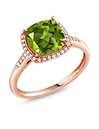2.45 Ct Cushion Green Peridot 10K Rose Gold Ring with Diamond Accent (Available in size 5,6,7,8,9)