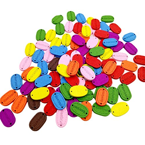Jili Online 200pcs Assorted Color 2 Holes Handmade Label Wooden Sewing Buttons Tags for DIY Sewing Scrapbooking Craft 18x12mm