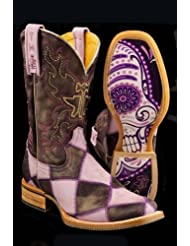 Tin Haul Womens Sugar Skull Checkerboard Cowgirl Boot Square Toe - 14-021-0007-0172 Pu