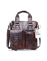 Yoome Men's Crazy Horse Leather Business Bag Work Tote Laptop Briefcase Messenger Bag Shoulder Bag - Chocolate Brown
