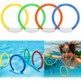 Dive Rings Swimming Pool Toy Rings 4 PCS Plastic Diving Ring Colorful Sinking Pool Rings Underwater Fun Toys For Kids Dive Training Dive & Retrieve