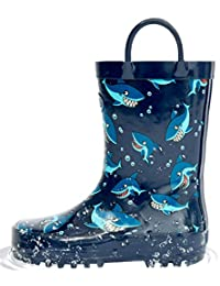 Outee Toddler Rain Boots Boys Kids Rubber Waterproof Shoes Printed Shark Blue Cute Print with Easy On Handles (Size 7,Blue)