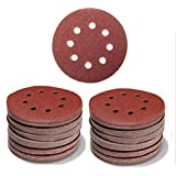 100 Pieces 5 Inch With 8 Holes Dustless Hook-and-Loop Circular Sanding Discs Sandpaper Assorted from 60 to 600 Grits