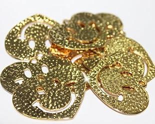 Paquete 3 Dijes Corazon Feliz Goldfilled 14/20, De 3,5cm De Ancho