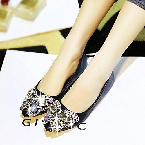 Angrousobiu Herbstwind Tipp Fuß Hand Perlen Bow Bow Bow Tie Glas Wasser Bohren flache Unterseite einzelne Schuhe Frauen Schuhe 99f9f4