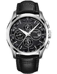 Mens 25 Jewels Automatic Sapphire Mirror Transparent Back Cover Calendar 24 Hours Black Calfskin Watches