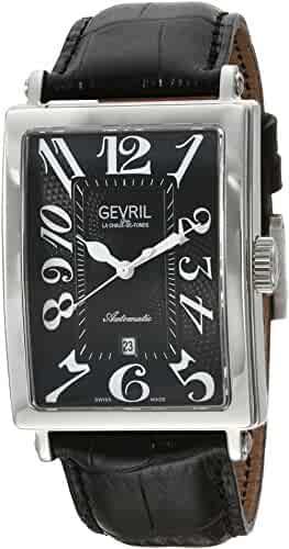 Gevril Avenue of Americas Men's Swiss-Automatic Rectangle Face Black Leather Strap Watch, (Model: 5061)