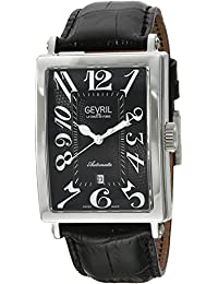 Avenue of Americas Men's Swiss-Automatic Rectangle Face Black Leather Strap Watch, (Model: 5061)