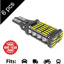 LED Monster 6-Pack Extremely Bright Brake Lights 45SMD T10 T15 194 921, 45 Chipsets, Xenon White, 1600 Lumens, No Hyper Flash