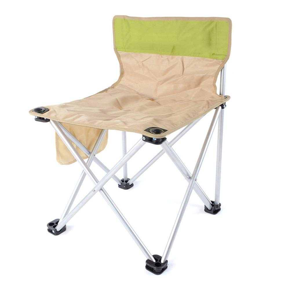 Beige Portable Folding Camping Chair, Foldable Fishing Picnic Beach Garden Patio Furniture Seat