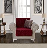 Anti-Slip Armless 1-Piece Sofa Throw Slipcover for Dogs Pets Kids Non-Slip Furniture Cover Shield Protector Fitted 2 & 3 Cushion Couch Futon Sectional Recliner Seater Acacia Chair Burgundy