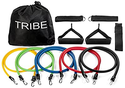 Tribe 11pc Resistance Band Set - with Door Anchor, Handles, Ankle Straps - Stackable Up To 80lbs