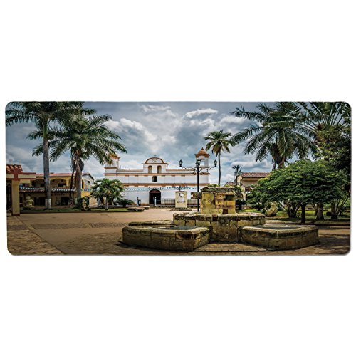 iPrint Pet Mat for Food and Water,Travel Decor,Main Square of Copan Ruinas City Honduras Central America Mayan Town Palms Decorative,Multicolor,Rectangle Non-Slip Rubber Mat for Dogs and Cats