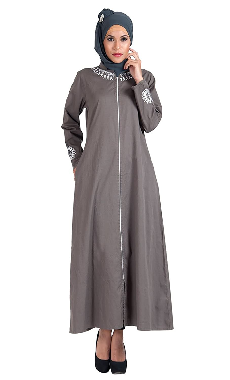 Grey Cotton Twill Full Zipper Front Open Abaya Dress