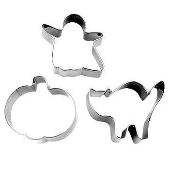 oumosi 3 piezas/set cortadores de galletas de acero inoxidable Halloween moldes para galletas moldes de repostería en forma gato calabaza fantasma: ...
